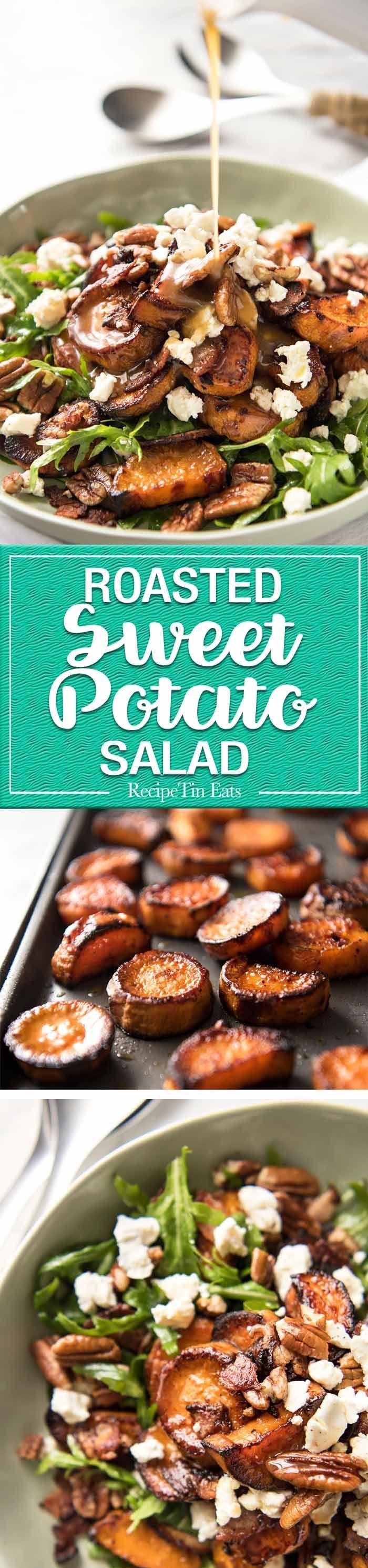 Roasted Sweet Potato Salad ~ combination of arugula/rocket, pecans, goats cheese or feta, a sprinkle of bacon and a beautiful honey lemon dressing!