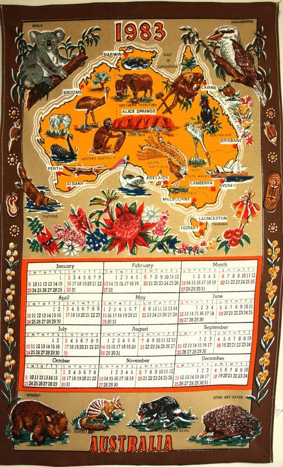 Retro Australia Calendar 1983 Tea Towel Vintage Australiana
