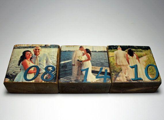 Five Year Anniversary Gift: Personalized Photo Wood Block Set, Anniversary Date, Wedding, Engagement, Birthday, Photo Gift, Image Transfer on Etsy, $30.00