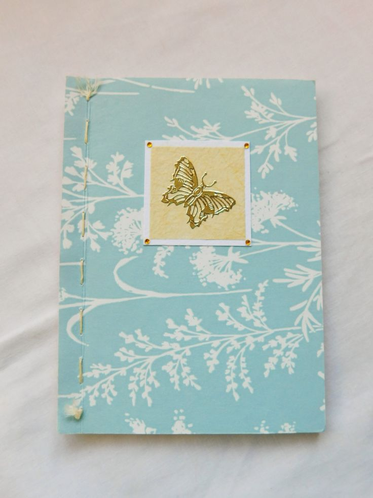 Small Handmade Notebook, Hand Stitched Blank Journal, Butterfly Pocket Diary For Her, Cute A6 Size Blue Sketchbook, Pretty Diary For Women by handmadebystrawb on Etsy