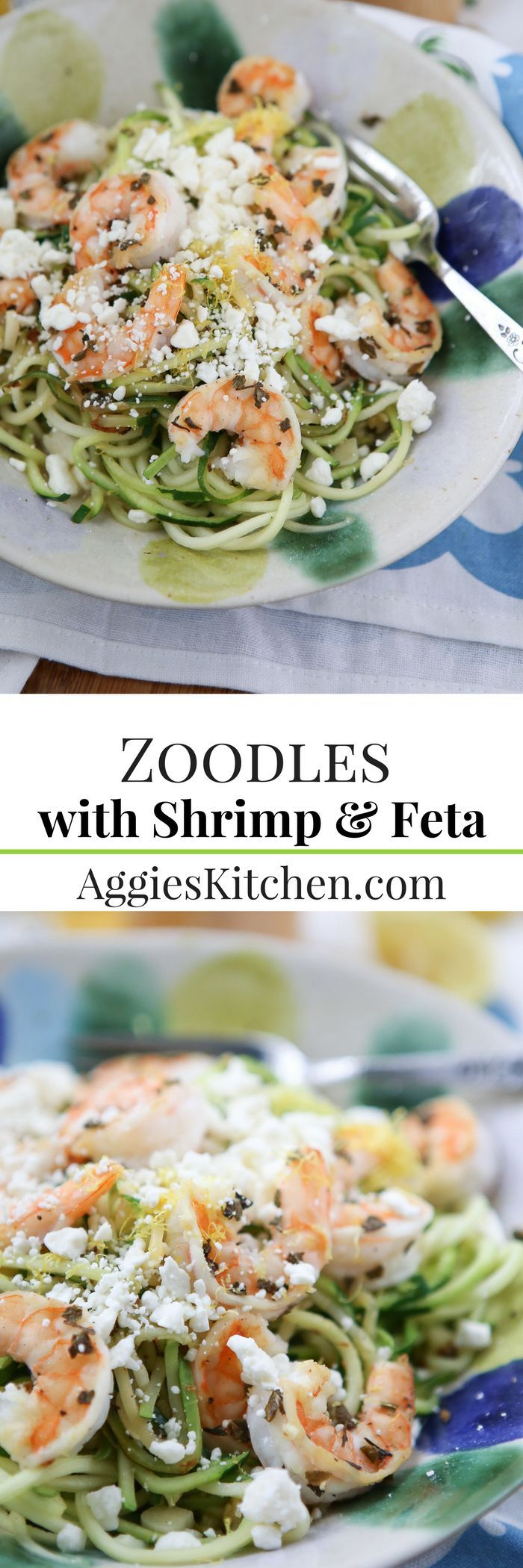 Healthy and simple, this Skinnytaste Zoodles with Shrimp and Feta recipe comes together in just 15 minutes! Low carb and low calorie recipe.
