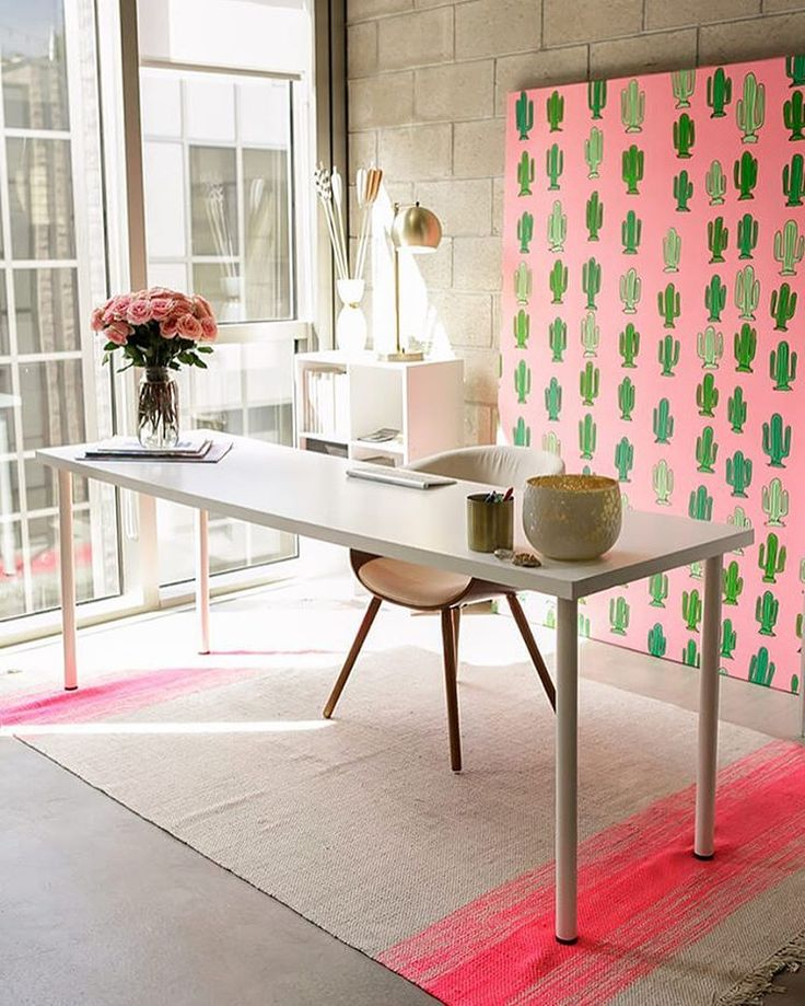 Mind blown by this bold + bright workspace tour. Such a fun pop of colour from the pink + green cactus wall art   @workspacegoals