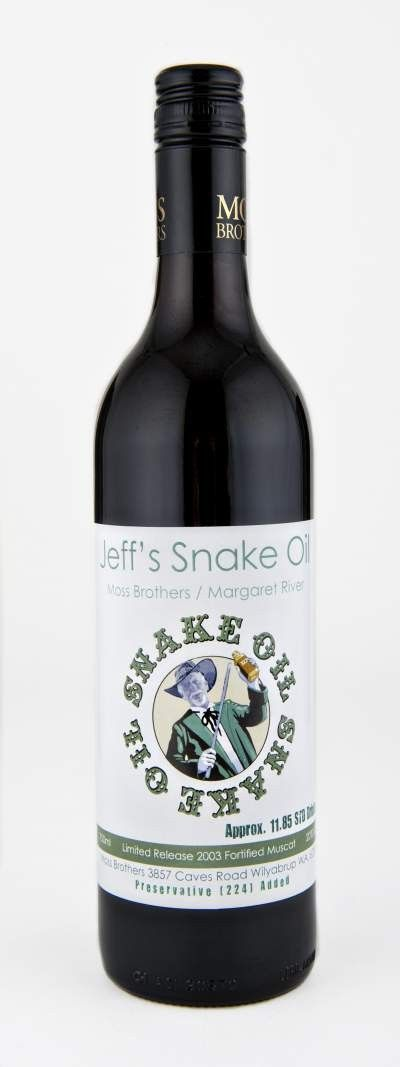 "Moss Brothers ""Jeff's Snake Oil"" (2003) now available here: http://www.topaustralianwines.com.au/snake-oil"