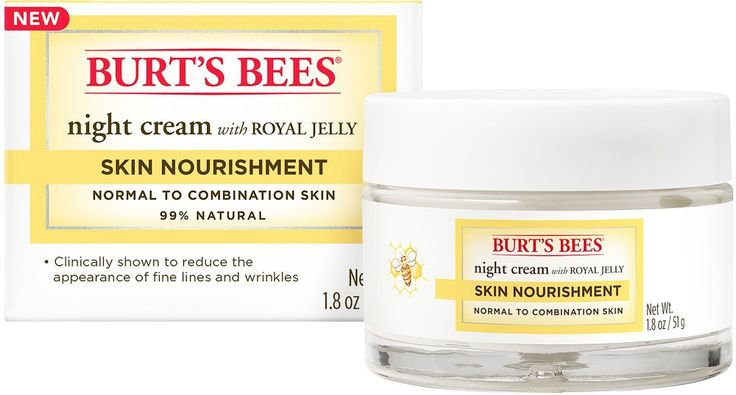 Reduce the appearance of fine lines and wrinkles with Burt's Bees Skin Nourishment Night Cream. Perfect for normal to combination skin, this anti-aging cream is formulated with Royal Jelly that contains Vitamins A, B2, and E that work together to reduce the appearance of fine lines and wrinkles, leaving skin looking healthy and radiant. This gentle night cream has no parabens, phthalates, petrolatum and SLS.