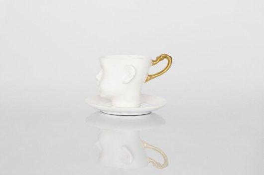 porcelana i szkło - kubki i filiżanki-Filiżanka Główka z porcelany zdobiona złotem