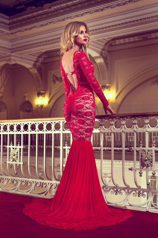 Sexy vestidos formales Lace Backless Scoop Mermaid Prom Evening Dresses Arabic Chiffon Long Sleeves Celebrity Red Carpet Dress