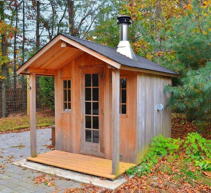 Outdoor sauna shed sauna pinterest sm hus hus och for Cost to build a sauna
