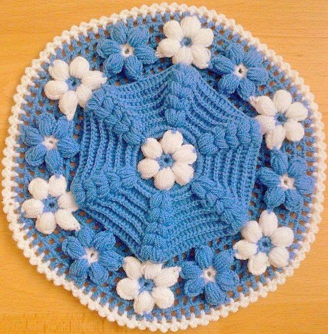 mavi beyaz çiçek motifli lif modelleri