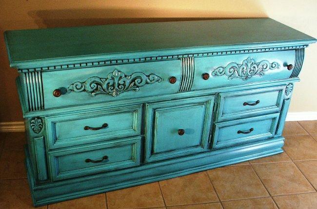 turquoise furniture   Turquoise & Black Glazed Dresser - Before & After   Facelift Furniture