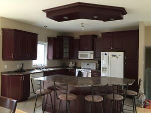 Kitchen, center island, top ceilling wood with light