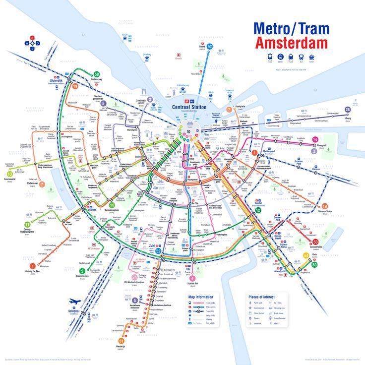 [Map] Mappa aggiornata dei trasporti pubblici di Amsterdam, ora la linea della metropolitana nord-sud (quella blu) è terminata