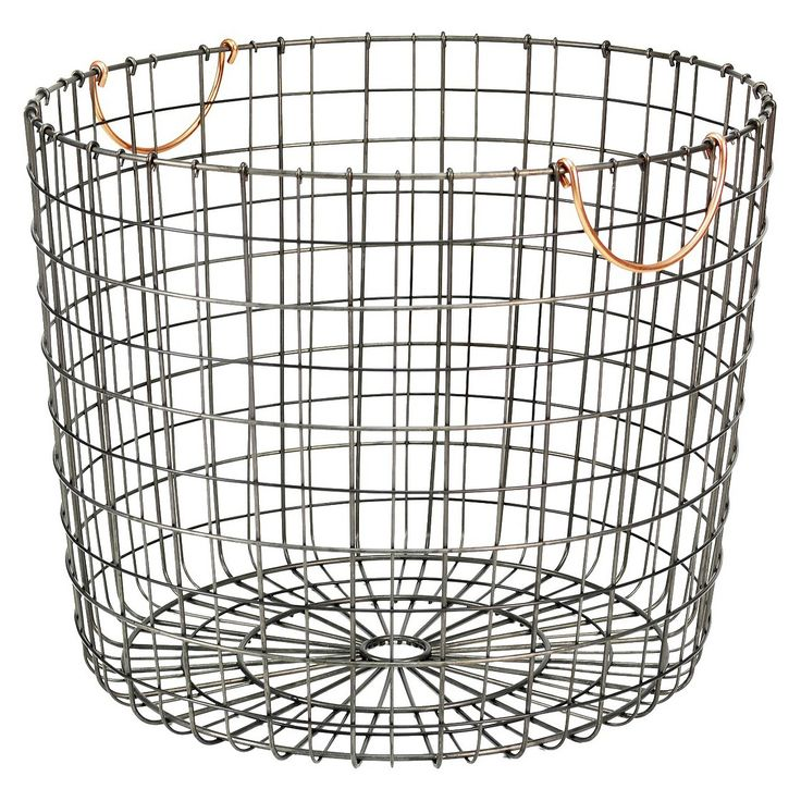 Extra Large Round Wire Decorative Storage Bin Antique Pewter With Copper Handle Threshold
