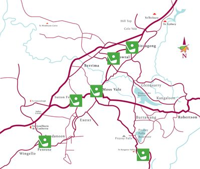 Map of various golf courses in the highlands