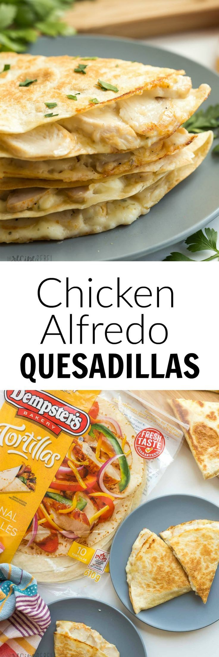 These Chicken Alfredo Quesadillas are an easy lunch, dinner or snack! They're filled with leftover chicken, Alfredo sauce and cheese — easy comfort food! A 10 minute meal.