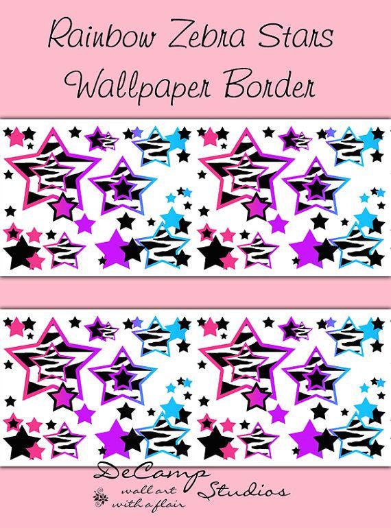 RAINBOW ZEBRA STARS Wallpaper Border Decals Animal Print For Teen Girls  Bedroom. Abstract And Modern