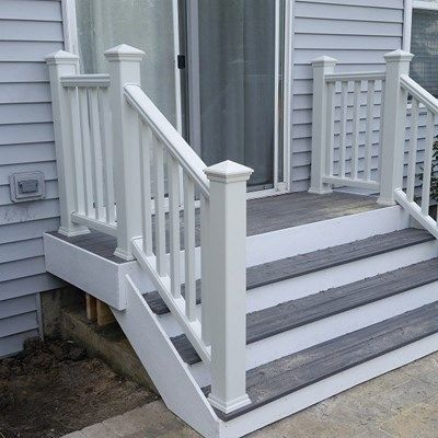 This Is A Small Trex Porch With Trex Railing System Down To A Brick Patio.