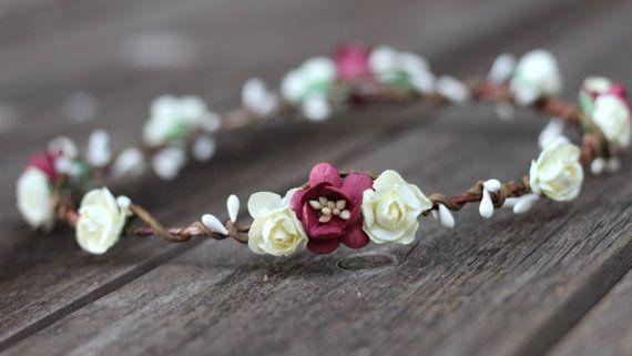 Flower Hair Wreath Burgundy Flower Crown by weddingflowercrown