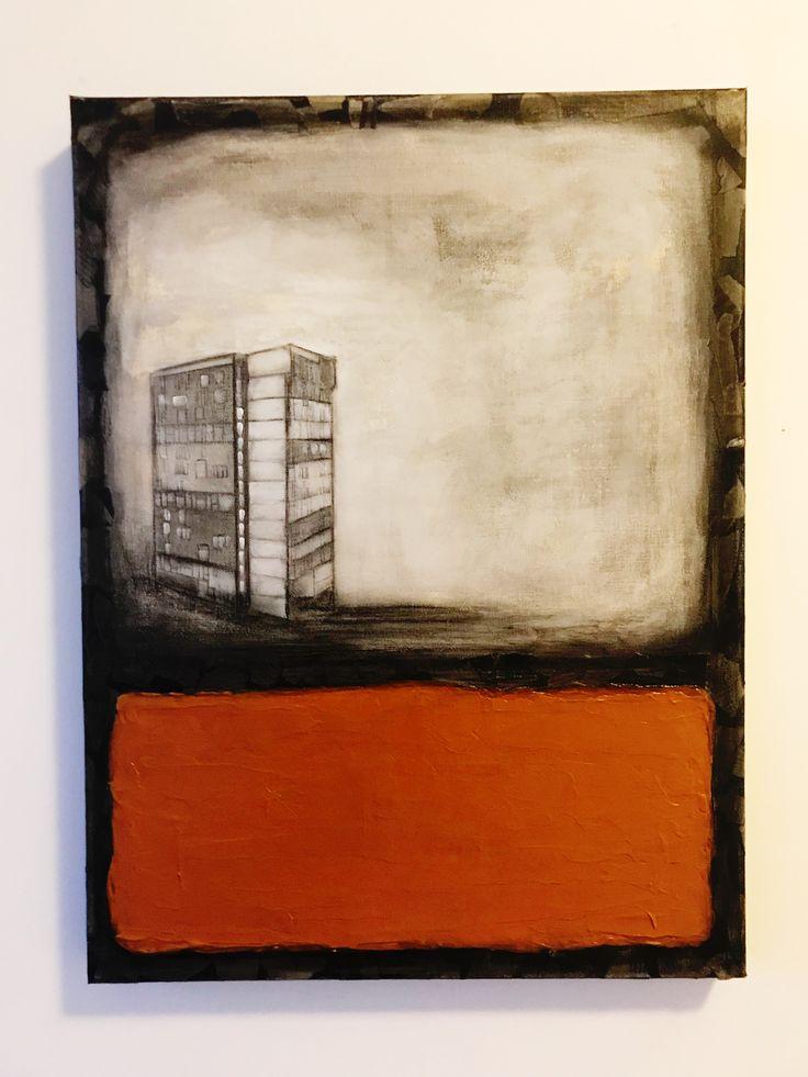 I N D U S T R I A L   Orange/ Black/ Cream #art #paintings #orange #cream #black #newspaper #texture