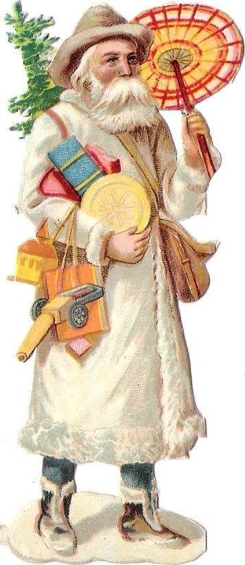Santa in white /Oblaten-Glanzbild-scrap-die-cut-chromo-santa-Nikolaus-pere-noel-father-XMAS-/231352862708?pt=Büro_Papier_Schreiben