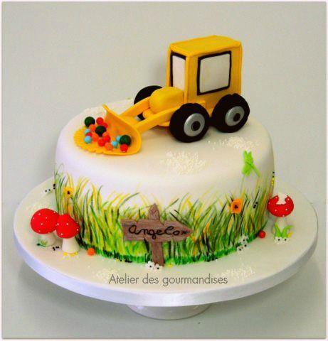 Gâteau tracteur, pour l'anniversaire d'Angelo... - Atelier des ...