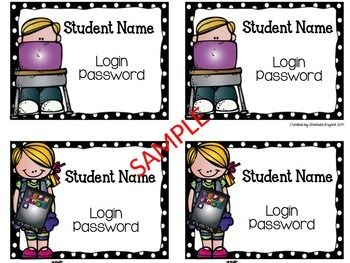 Editable and FREE Student Computer Login Cards ~ A Traveled Teacher