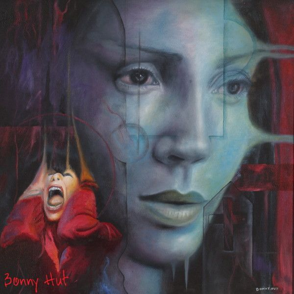 """A painting called """"Beauty of the witch"""" by visionary artist, Bonny Hut. A portrait of a bluish woman with a screaming man and a subtle grave stone. It has somewhat Gothic undertones and was published in the book Metamorphosis - 50 visionary artists by John Beinart publishing. (Some have said the woman looks like Jennifer Lopez but I don't see it.)"""