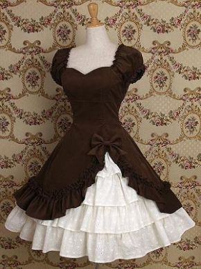 Chocolate Cotton Classic Lolita Dress - I think I want my next christmas elf costume to be super frilly
