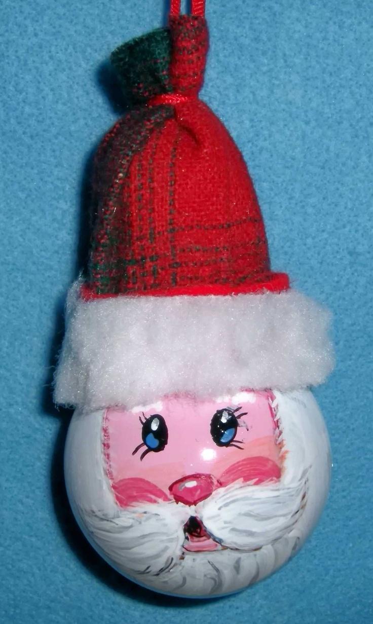 Light bulb ornaments - Light Bulb Ornament Santa