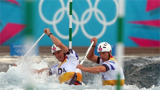 David Florence (L) of Great Britain and his team mate Richard Hounslow compete in the mens's Canoe Double.#Olympics Olympics