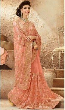 Peach Puff Color Net Designers Wedding Bridal Sarees with Stitched Blouse | FH418967130 #saris  #saris-online  #saristyles  #sareesonline  #sareeshopping  #sareesindian  #bridelsaris