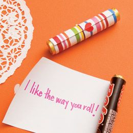"""I like the way you roll"" Valentines made with rolls of Rolos."