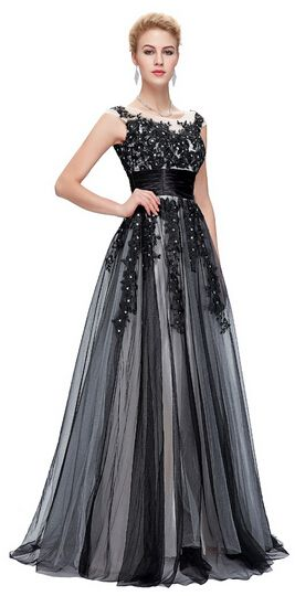 5cf261c57e Long Black Evening Dresses Elegant Soft Tulle Lace Night Party Gowns What a  beautiful image Visit our store