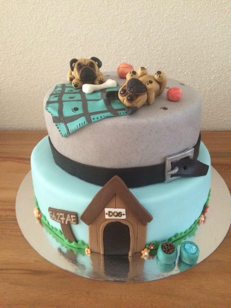 Fondant pug dog cake