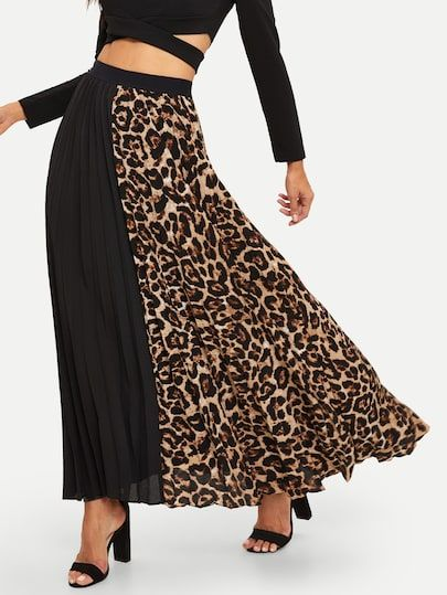 5c29cec633ac Cut-and-sew Leopard Print Pleated Skirt [skirt181123754] - $42.00 :  moonbaye.com