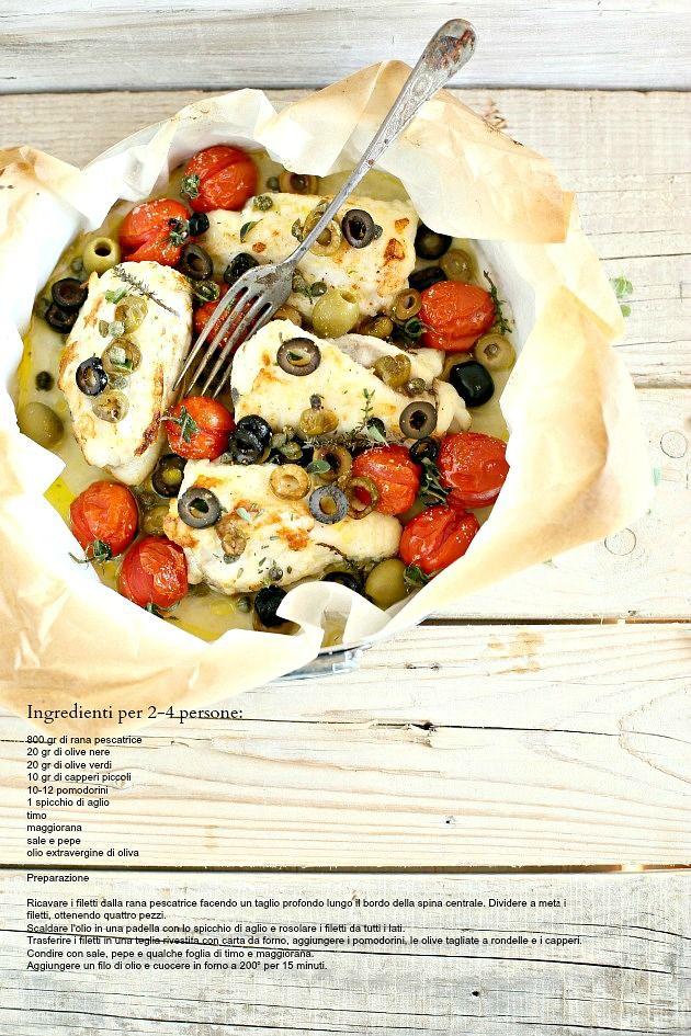 Cucina Scacciapensieri: Rana pescatrice al forno con pomodorini olive e erbe aromatiche