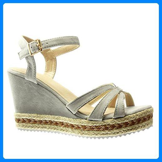 Angkorly - damen Schuhe Espadrilles Sandalen - Plateauschuhe - String Tanga - Multi-Zaum - Seil Keilabsatz high heel 10 CM - Grau HL26 T 39 - Espadrilles für frauen (*Partner-Link)