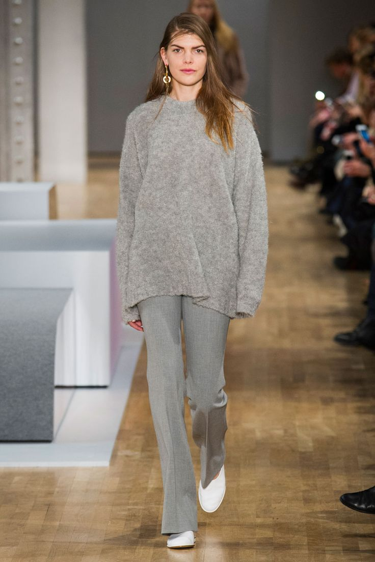 Tibi's Fall 2015 - cozy monochrome ensemble, grey flare leg pants + an oversized sweater and white slip on shoes | StyleCaster