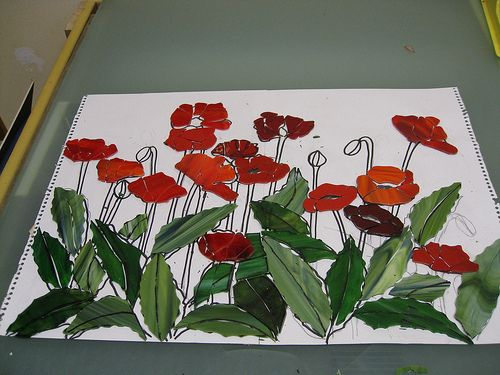 WIP Poppies 2 | stained glass on Wediboard | Inge | Flickr