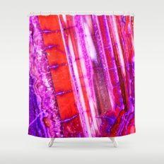 Candy Striped Red & Purple Quartz Shower Curtain #agate #quartz #rocks #minerals #crystals #prettystuff #hygge