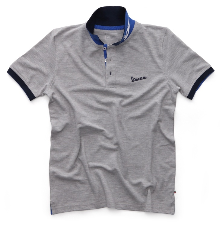 Vespa polo shirt #Vespa #scooter #merchandising #logo #shirt #gray