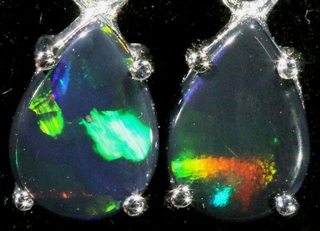 6.00 CTS 9K WHITE GOLD OPAL EARRINGS FROM LIGHTNING RIDGE [SOJ5626]  fire opal earrings , gold opal earrings , australian solid opal earrings