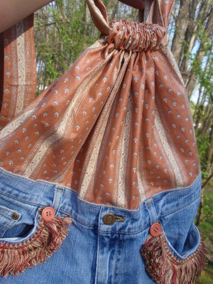 Denim vintage bag tote purse bookbag backpack repurposed jeans for fall. $49.00, via Etsy.