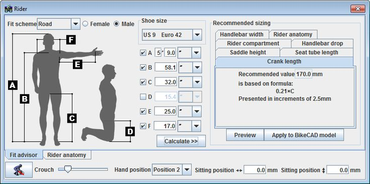 Fit advisor tool in BikeCAD for sizing cyclists.