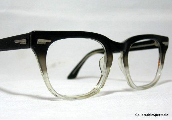 Vintage 50s 60s Mens Eyeglasses Gray Fade Horn Rim Frames