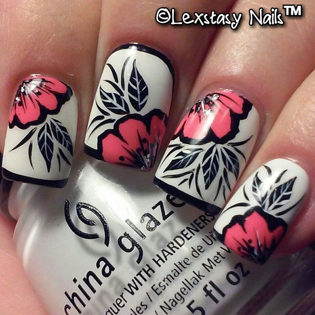 Black, White & Bright Pink Floral nails. ☆  Instagram photo taken by ©Lexstasy Nails™(Lexly) Tech - INK361