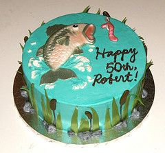 fondant fish cake paint brushed with gel colors