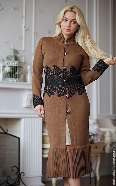 """Купить Пальто """"Black crochet"""" - коричневый, вязаное плаьто, летнее пальто, пальто с кружевом"""