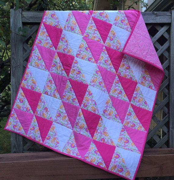 Modern Quilt HST Patchwork Quilt Pink Quilt by PeggyGaylerDesigns