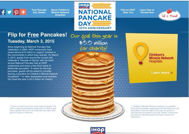 Good morning Everyone! It's National Pancake Day @ihop  Get a free Original Buttermilk short stack with any donation to the Children's Miracle Network! From 7am-10pm. Plz tip your server too. #NATLpancakeDay
