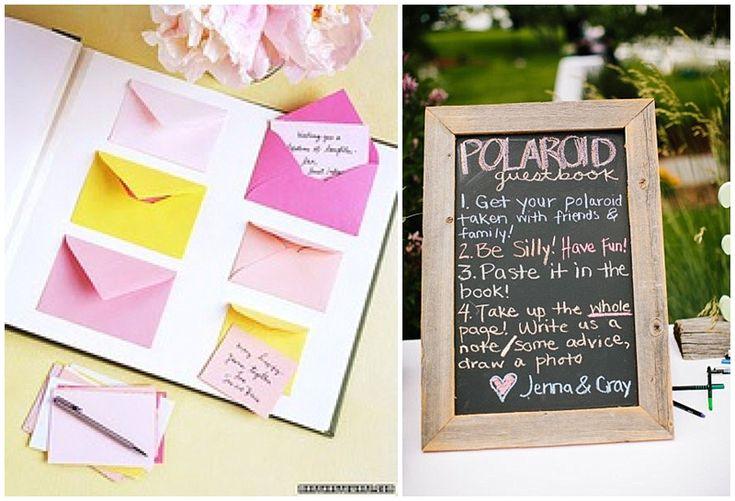 polaroid and notes for guestbook wedding l Polaroid Fotos und Nachrichten an das Brautpaar als Gästebuch-Idee.
